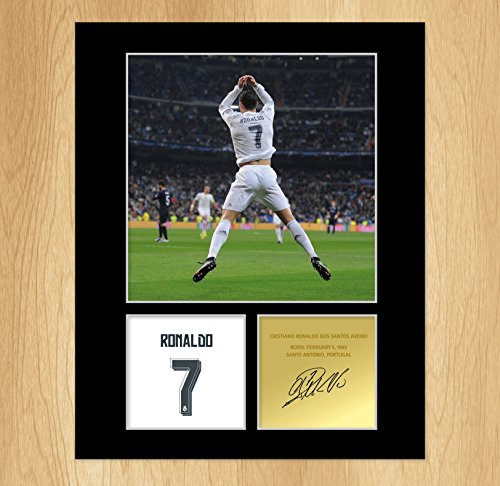 Cristiano Ronaldo Signed Photo Display montato Portogallo Real Madrid