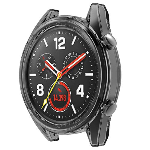 SPGuard kompatible Huawei Watch GT Hülle, Huawei Watch GT Displayschutzfolie, TPU kratzfester Rahmen Schutzhülle für Huawei Watch GT