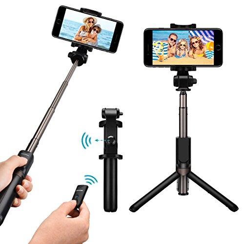Mpow Perche Selfie Trépied Bluetooth avec Télécommande 360° Selfie Stick 3 en 1 Monopode Extensible pour iPhone X/8 plus/7/6s/SE, Samsung Galaxy Series,OnePlus 6/5t, Huawei, Smartphone Android