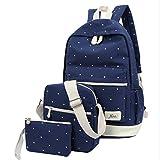 Hosaire Backpack Mochilas Escolares Mujer Mochila Escolar Lona Bolsa Casual Para Chicas Bolsa De Hombro Mensajero Billetera 3 Piezas (Azul)