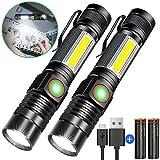 Taschenlampe LED Magnet USB Aufladbar Zoombar (Mit 18650 Akku) Karrong COB Arbeitsleuchte Super...