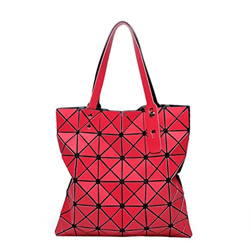 Folding Umhängetasche Geometrische Lingge Splicing Handtasche Red
