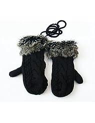 Longless Guantes de mujer invierno retro línea gruesa caliente plus engrosamiento de terciopelo guantes de lana tejida a mano