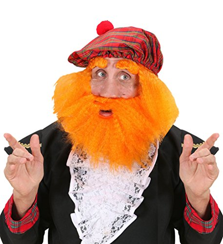 Scottish Jock with Ginger Beard, Brows, Wig and Tartan Cap