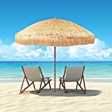 Beach Patio Garden Hawaii Paraso Sun Umbrella Sunshade Hawaiian Folding Tilting (Cream)