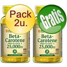PURITANS-PRIDE - PACK 2U+1 BETACAROTENO 100 PERLAS 25000 UI - betacaroteno-25000-ui-pack