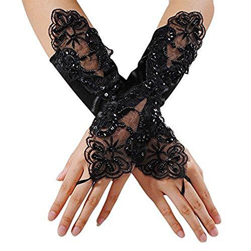 enkel lange Fingerlose Satin-Handschuhe für Braut Hochzeit Abend Prom Opera Party Kostüm Bestickt (Schwarz) (Schwarzes Langes Abend Handschuhe)
