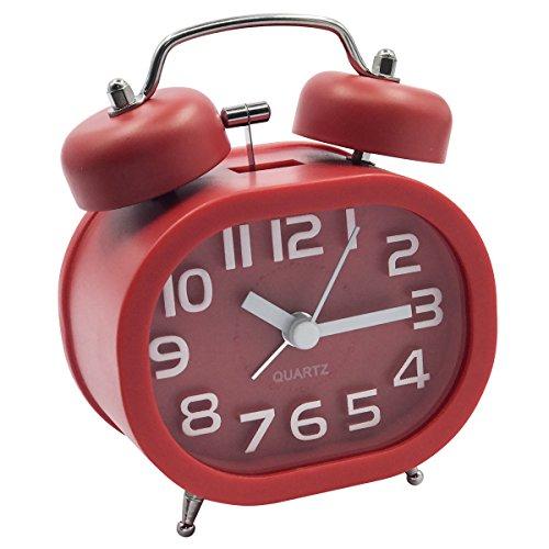 """EASEHOME Retro Reloj Despertador Analógico de Cuarzo, 3\"""" Doble Campanas Despertadores Silencioso Vintage Relojes de Mesita Sin Tictac con Luz de Noche y Fuerte Alarma para Niños Adultos, Rojo"""