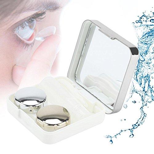 er, Reflektierende Abdeckung Kontaktlinsen-Etui Set Cute Lovely Travel Kit Box(Silber) (Silber Kontaktlinsen)