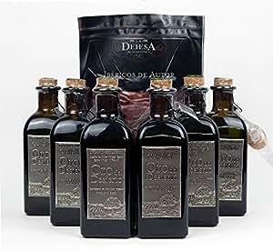 6 bouteilles de verre x 500 ml + gratuit 80g Jambon ibérique - Oro del desierto Huile d'olive extra vierge écologique Espagnol par Oliva Oliva Internet S.L.