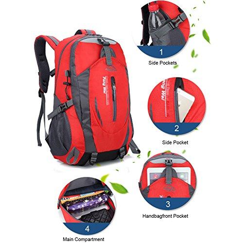Yoome Zaino per escursioni 40L Weekend Pack Custodia antipioggia per laptop e scomparto per laptop - per campeggio, viaggi, escursionismo - verde Rosso
