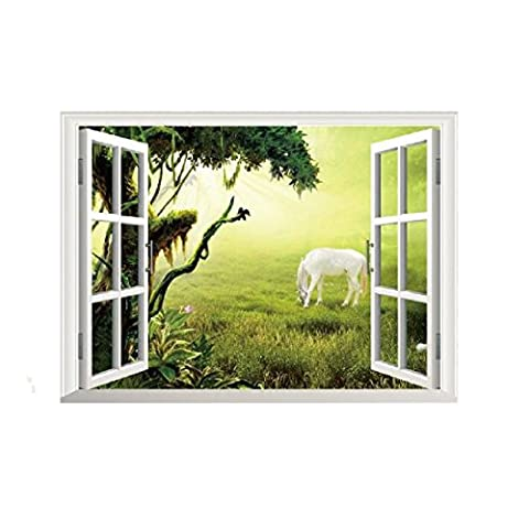 Decor 3D Window Grassland Horse Wall Stickers Home Decoration Removable Wallpaper Mural DIY