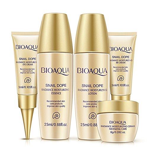bioaqua 5pcs Blanqueamiento Crema Rostro Cuidado De La Piel Set esencia Loción Facial Ácido Líquido antiarrugas ojo crema bb crema (5muestras)