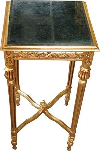 Casa Padrino Barock Beistelltisch Eckig Gold mit grüner Marmorplatte 40 x 40 x H 72.5 cm Antik Stil - Telefon Blumen Tisch -