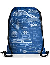 style3 GT 500 Cianotipo Bolsa mochila bolsos unisex gymsac fotocalco azul