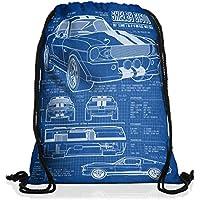 style3 GT 500 Cianografia Borsa da spalla sacco sacchetto drawstring bag gymsac (Camaro Motore Motore)