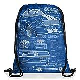 style3 GT 500 Blaupause Rucksack Tasche Turnbeutel Sport Jute Beutel mustang