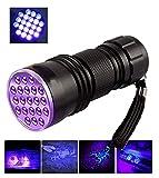 Schwarzlichtlampe mit 21 UV LEDs UV-Schwarzlicht und 395nm UV Taschenlampe Ultraviolett Leuchte, Robust und Wasserfest - Zertifizierung CE, RoHS