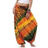 Batik Hippie Hose Haremshose Aladinhose Pumphose für Damen & Herren 36 38 40 42 Gelb