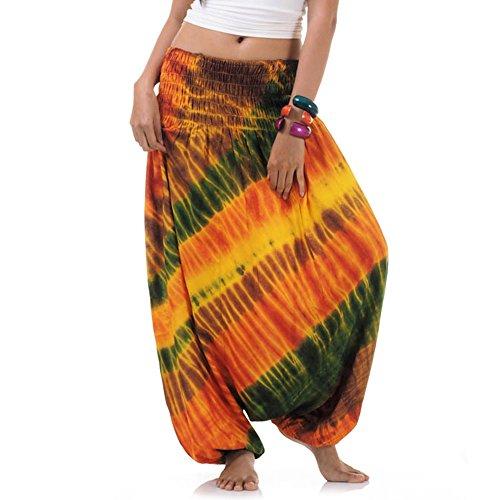 Princess of Asia Batik Hippie Hose Haremshose Aladinhose Pumphose für Damen & Herren 36 38 40 42 Gelb -