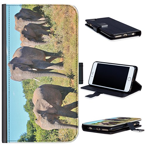 ie von Elefanten zu Fuß Motorola Moto G (2nd Gen) Leder Klapphülle Etui Handy Tasche, Deckel mit Kartenfächern, Geldscheinfach und Magnetverschluss. Motorola Moto G2 Fall ()
