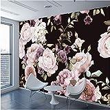 Weaeo Benutzerdefinierte 3D Fototapete Wandbild Handgemalte Schwarz Weiß Rose Pfingstrose Blume Wandbild Wohnzimmer Woh