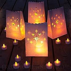 Luces de té sin llama - incluye 24 velas de parpadeo amarillo LED con 12 bolsas de luminaria
