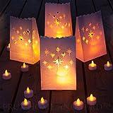 Luces de té sin llama - 24 velas de parpadeo amarillo LED con 12 bolsas de luminaria de bonificación incluido