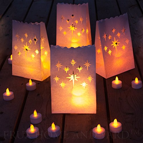 flammenlose Teelichter - 24 gelb flackernde LED-Kerzen mit 12 Lichttüten (Gläser Halloween Dekor)