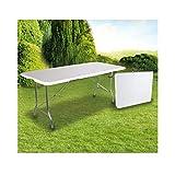 OSE Grande Table de Jardin Pliante 8 pers Blanc 180 cm