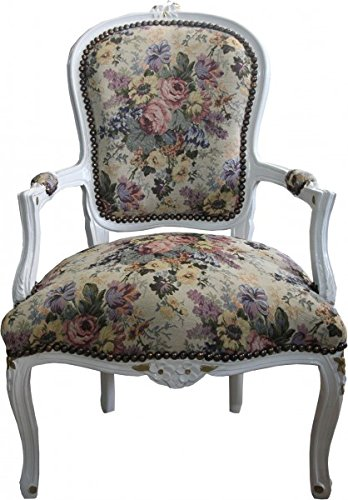 Casa-Padrino Barroco Salón Presidente Floral/Crema / Oro - Diseño de Muebles Antiguos - Edición...