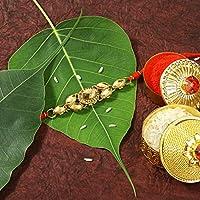 Aheli Traditional Rakhi for Brother Bhaiya Decorated Faux Kundan Stone for Rakshabandhan Indian Festival