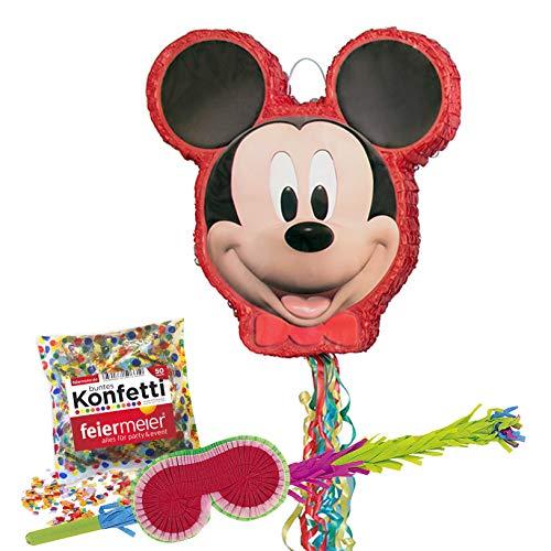 PartyMarty Pinata-Set: Mickey Mouse, Schläger + Maske + Konfetti bunt , 50g, GmbH® für Kindergeburtstag (Mickey Pinata)