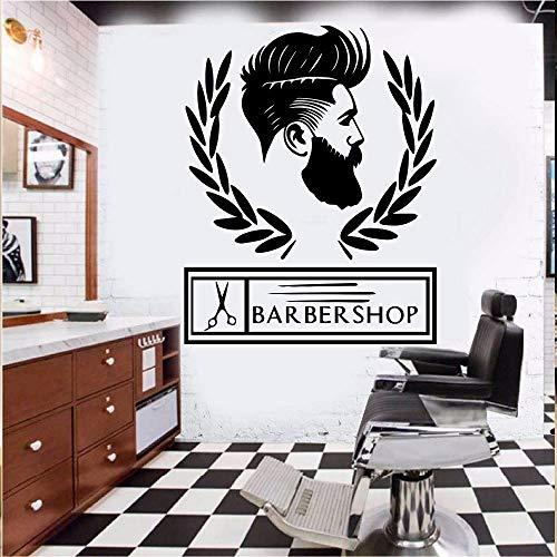 Friseur abnehmbare Wand Friseurladen personalisierte Hipster Wandaufkleber Babershop Barbershop Dekoration Name 42X53Cm (Klassenzimmer-tür-dekoration-ideen Für Halloween)