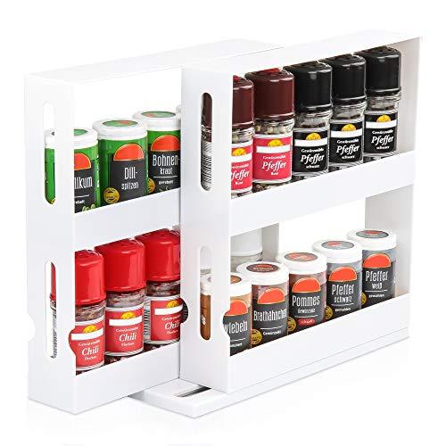 KREHMANN Slide & Swivel Gewürzregal, effizienter Gewürzhalter für den Küchenschrank I Schwenk- und ausziehbar