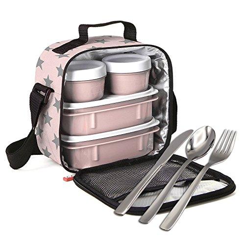 K&G Isolierte Thermo Kühltasche Mittagessen Lunch-Tasche Lunchbox Tragetasche gekühlt mit 4 stabilen Behältern (Sterne Besteck)