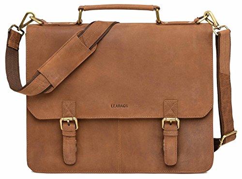 LEABAGS Gainsville Aktentasche Laptoptasche 15 Zoll Ledertasche im Vintage Look - Braun