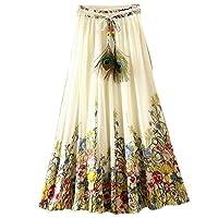 Kafeimali Women's Flowy Summer Casual Floral Bohemian Chiffon Long Maxi Skirt (White)