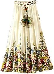 Kafeimali Women's Flowy Summer Casual Floral Bohemian Chiffon Long Maxi S