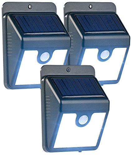 Luminea LED Solar Leuchte: 3er-Set Solar-LED-Wandleuchten mit Bewegungssensor & Nachtlicht, 50 lm (Wandlampen LED)