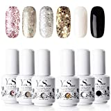 Vernis à Ongles Gel - Y&S UV LED Vernis Gel Semi Permanent Soak Off Manucure Nail Art Cadeau Kit, 6 Couleurs X 8ml Chaque Flacon, Lot Impression Brillant ...
