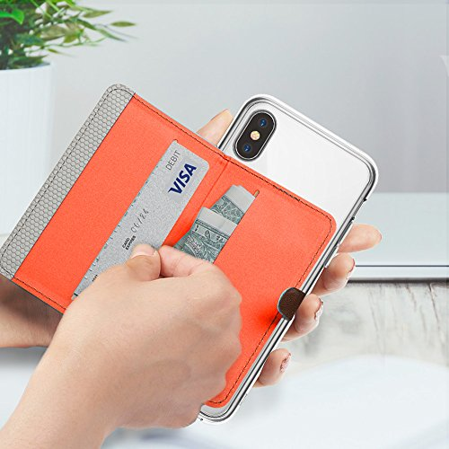 iPhone X Hülle, [Value Accessory Kit] Ringke FUSION Kristallklar [Kostenlos Flip Card Halter] Transparent PC Rückschale Schock Absorbtions TPU Bumper Handyhülle - Kristallklar & Grau Clear & Gray