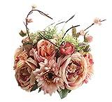 MARRYME Künstliche Seide Gerbera Rosen Blumen-Bouquet Kunstblumen Hochzeit Dekor Braut Strauß Rosa