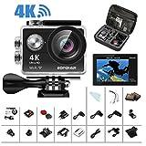 4K Action Camera, Bopower Camera WIFI Sport 60fps Impermeabile Anti-scuotimento con Telecomando Remoto 2.4G, Schermo da 2.0 pollici Full HD, Grandangolo da 170 gradi, 2 Batterie da 1050mAh, con tanti accessori immagine