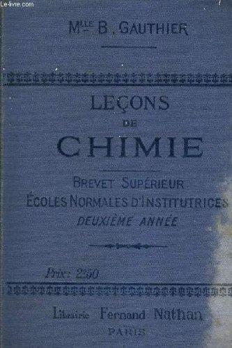 LECONS DE CHIMIE - BREVET SUPERIEUR ECOLES NORMALES D'INSTITUTRICES - 2EME ANNEE.