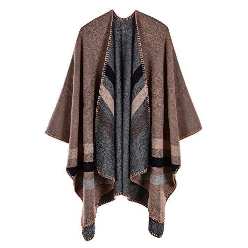 Trim Knit Cardigan (ZUZHEN Women es Shawl Golden Trim Knit Blanket Wrap Fringe Poncho Coat Cardigan,E)