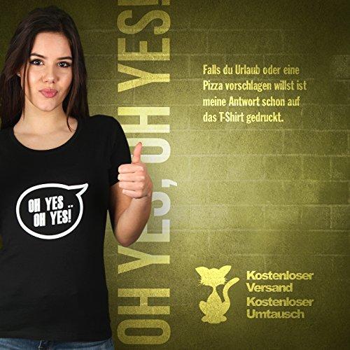 Oh Yes, Oh Yes! - Damen T-Shirt von Kater Likoli Deep Black