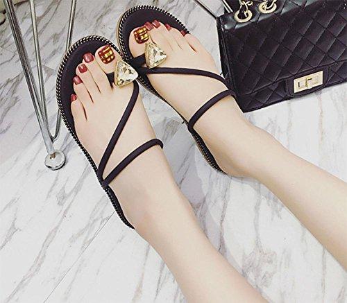 Strass Sandalen und Pantoffeln weibliche Badeschuhe Schuhe wilden Studenten Black