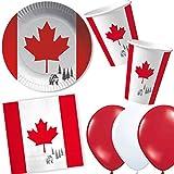 37-TLG. Party-Set * Kanada * mit Pappteller + Servietten + Pappbecher + Luftballons für Mottoparty | Länderparty Geschirr Party Einweg Deko Canada