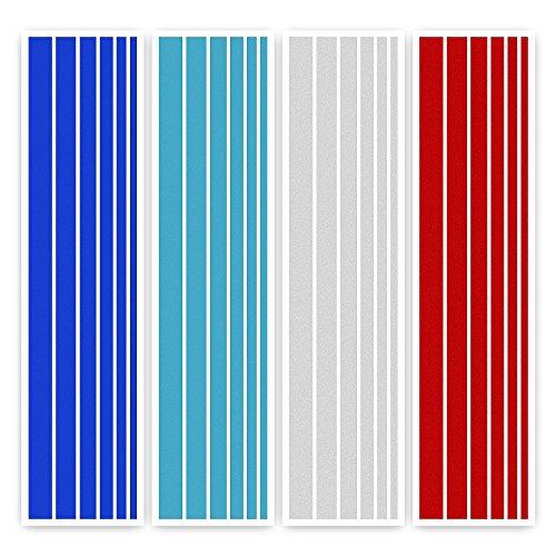 ECENCE 24-teiliges Kühlergrill Aufkleber Set in 4 Farben (dunkelblau, weiß, rot und hellblau) UV-beständig 13010101 -